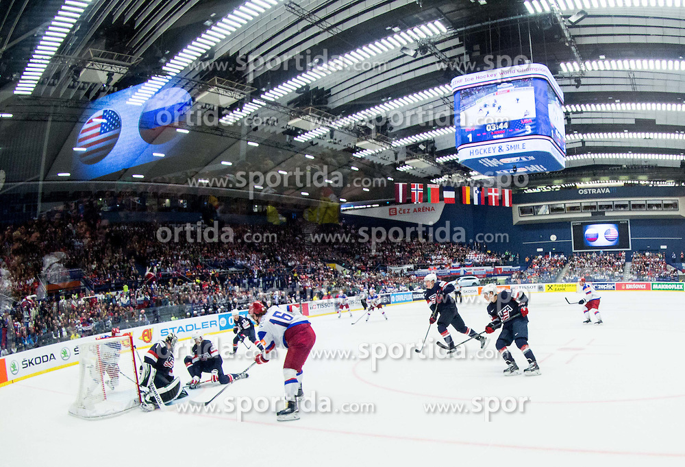 Artyom Anisimov of Russia scores against Jack Campbell of USA during Ice Hockey match between Russia and USA at Day 4 in Group B of 2015 IIHF World Championship, on May 4, 2015 in CEZ Arena, Ostrava, Czech Republic. Photo by Vid Ponikvar / Sportida