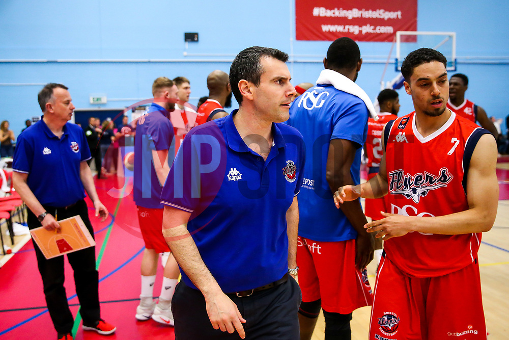 Bristol Flyers head coach Andreas Kapoulas looks on after they heroically fight back from 33 points behind to end the game 94-97 - Rogan Thomson/JMP - 28/04/2017 - BASKETBALL - SGS Wise Arena - Bristol, England - Bristol Flyers v Newcastle Eagles - BBL Championship Play-Off Quarter Final First Leg.