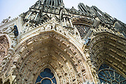 Statues cleaned during renovation and cleaning works at Reims Notre Dame Cathedral, Champagne-Ardenne, France