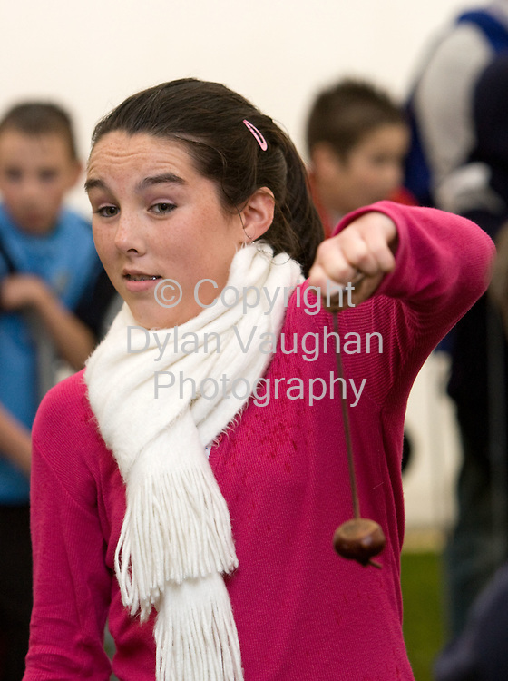28/10/2007.Pictured at the Irish Conker Championships in Freshford County Kilkenny yesterday was Lucy Dooley aged 13 from Freshford..Picture Dylan Vaughan
