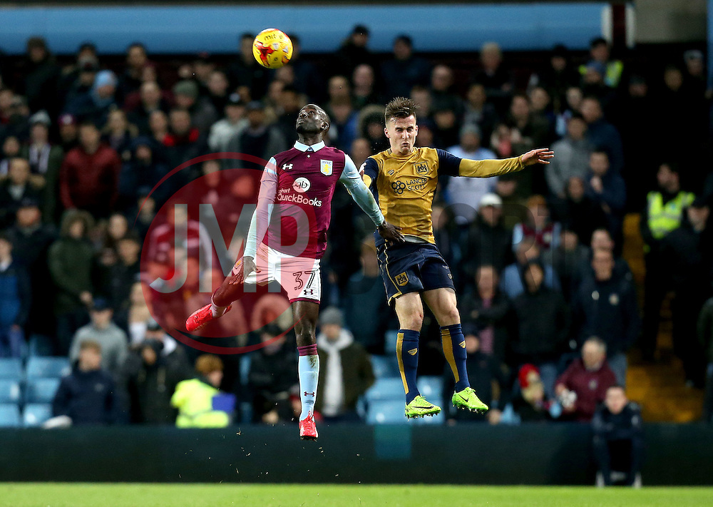 Joe Bryan of Bristol City challenges Albert Adomah of Aston Villa to a header - Mandatory by-line: Robbie Stephenson/JMP - 28/02/2017 - FOOTBALL - Villa Park - Birmingham, England - Aston Villa v Bristol City - Sky Bet Championship