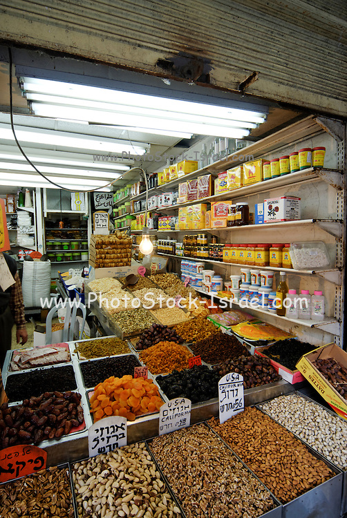 Israel, Tel Aviv, Neve Tzedek, interior of a grocery shop selling dry fruit and nuts