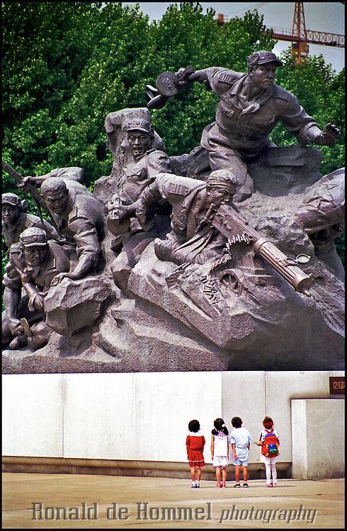 North Korean children visit one of the many war memorials in Pyongyang, North Korea.