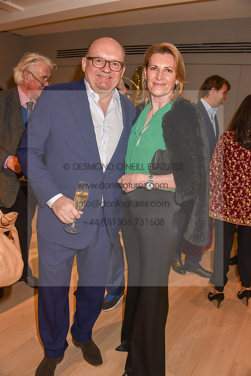 Left to right, Michael Spencer and Sarah, Marchioness of Milford-Haven at a private view of recent work by Georgiana Anstruther held at the Sladmore Gallery, 32 Bruton Place, London England. 08 November 2018. <br /> <br /> ***For fees please contact us prior to publication***