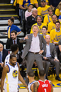 Golden State Warriors head coach Steve Kerr yells at his team during the first half of gameplay against the Houston Rockets during Game 3 of the Western Conference Finals at Oracle Arena in Oakland, Calif., on May 20, 2018. (Stan Olszewski/Special to S.F. Examiner)