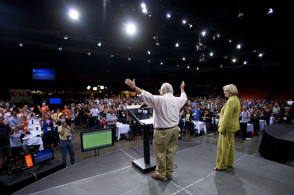 Marshall Ganz, organizer and architect of Barack Obama's 2008 ground campaign, addresses New Party Party of Canada delegates at the party's National Convention in Halifax, Nova Scotia on August 15th 2009.