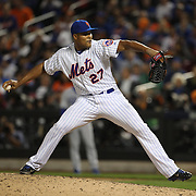 Pitcher Jeurys Familia, New York Mets, pitching during the New York Mets Vs Los Angeles Dodgers, game four of the NL Division Series at Citi Field, Queens, New York. USA. 13th October 2015. Photo Tim Clayton