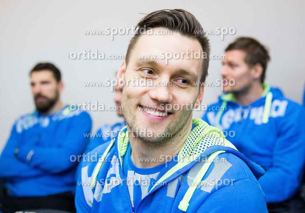 Luka Zvizej during press conference of Slovenian National Handball team before 24th Men's Handball World Championship Quatar 2015 on January 12, 2015 in Ljubljana, Slovenia. Photo by Vid Ponikvar / Sportida