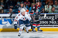 KELOWNA, CANADA - SEPTEMBER 24: Rudolfs Balcers #21 of the Kamloops Blazers skates against the Kelowna Rockets on September 24, 2016 at Prospera Place in Kelowna, British Columbia, Canada.  (Photo by Marissa Baecker/Shoot the Breeze)  *** Local Caption *** Rudolfs Balcers;