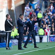 9th September 2017, Ibrox Park, Glasgow, Scotland; Scottish Premier League football, Rangers versus Dundee; Rangers boss Pedro Caixinha and Dundee manager Neil McCann
