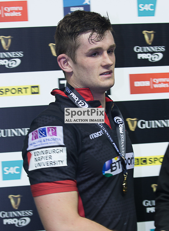 Man of the Match Edinburgh #8. Magnus Bradbury recieves his medal.  Edinburgh Rugby v Zebre,  28th October 2016