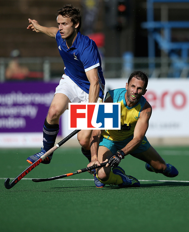 JOHANNESBURG, SOUTH AFRICA - JULY 11:  Jean-Laurent Kieffer of France attemps a shot at goal under pressure from Mark Knowles of Australia  during day 2 of the FIH Hockey World League Semi Finals Pool A match between Australia and France at Wits University on July 11, 2017 in Johannesburg, South Africa.  (Photo by Jan Kruger/Getty Images for FIH)