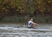 Putney-Chiswick.  Greater  London, UK. Tim RICHARDS,  winner Wingfield Sculls raced over the             Championship Course, River Thames  Thursday  12/11/2015 <br /> <br /> [Mandatory Credit: Peter SPURRIER: Intersport Images]