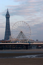 UK ENGLAND LANCASHIRE BLACKPOOL 1DEC04 - View of Blackpool's Central Pier and Tower from the beach, famous for amusement archades and gambling parlours. ....jre/Photo by Jiri Rezac....© Jiri Rezac 2004....Contact: +44 (0) 7050 110 417..Mobile:  +44 (0) 7801 337 683..Office:  +44 (0) 20 8968 9635....Email:   jiri@jirirezac.com..Web:    www.jirirezac.com....© All images Jiri Rezac 2004 - All rights reserved.