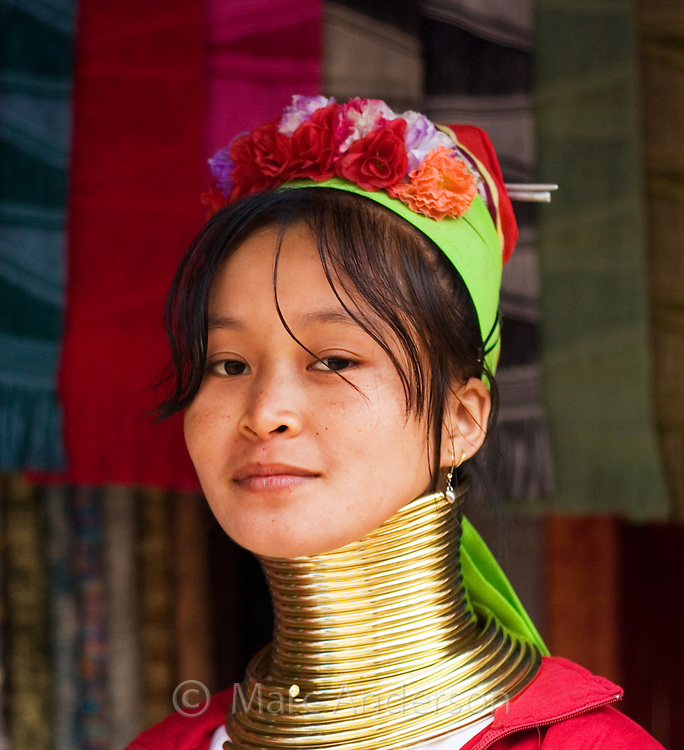 Young woman from the Padaung long neck hill tribe, Tha Ton, Chiang Mai Province, Thailand