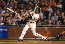 SAN FRANCISCO, CA - APRIL 18:  Angel Pagan #16 of the San Francisco Giants hits a two-run single against the Arizona Diamondbacks during the fifth inning at AT&T Park on April 18, 2016 in San Francisco, California.  (Photo by Jason O. Watson/Getty Images) *** Local Caption *** Angel Pagan