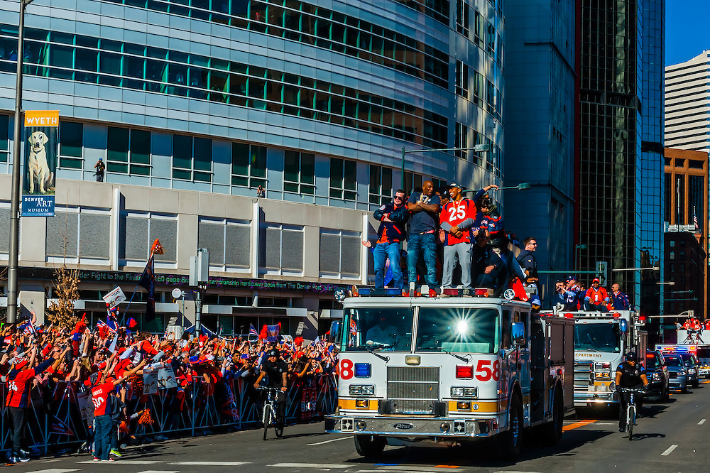 Cornerbacks Aqib Talib and Chris Harris Jr., Denver Broncos Super Bowl Victory Parade, Downtown Denver, Colorado USA.