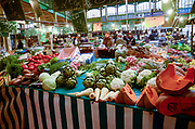 vegetables on display at an Indoor Market in Sens, France