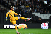 Ipswich Town goalkeeper Tomas Holy (1) kicks out during the EFL Sky Bet League 1 match between Milton Keynes Dons and Ipswich Town at stadium:mk, Milton Keynes, England on 17 September 2019.