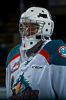 KELOWNA, CANADA - JANUARY 3: James Porter #1 of the Kelowna Rockets stands on the ice against the Tri-City Americans on January 3, 2017 at Prospera Place in Kelowna, British Columbia, Canada.  (Photo by Marissa Baecker/Shoot the Breeze)  *** Local Caption ***