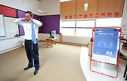 Leader of the Conservative Party David Cameron  backstage at Kingsmead Primary School, Northwich, before going on stage for a  Cameron Direct, on his last day  of his 3 day  tour of Yorkshire and the North West England, Thursday, August 20, 2009. Photo By Andrew Parsons / i-Images.