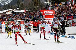 10.12.2011, Biathlonzentrum, Hochfilzen, AUT, E.ON IBU Weltcup, 2. Biathlon, Hochfilzen, Verfolgung Herren, im Bild Eder Simon (AUT) Kletcherov Michail (BUL) Peiffer Arnd (GER) Bjoerndalen Ole Einar (NOR) Greis Michael (GER) // during E.ON IBU World Cup 2th Biathlon, Hochfilzen, Austria on 2011/12/10. EXPA Pictures © 2011. EXPA Pictures © 2011, PhotoCredit: EXPA/ nph/ Straubmeier..***** ATTENTION - OUT OF GER, CRO *****