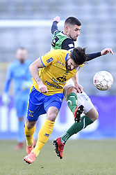 February 17, 2018 - Brussels, BELGIUM - Union's Pietro Perdichizzi and Cercle's Dylan De Belder fight for the ball during a soccer game between Union Saint-Gilloise and Cercle Brugge, in Brussels, Saturday 17 February 2018, on day 27 of the division 1B Proximus League competition of the Belgian soccer championship. BELGA PHOTO YORICK JANSENS (Credit Image: © Yorick Jansens/Belga via ZUMA Press)