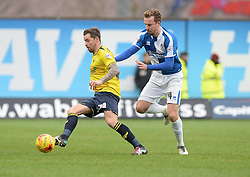 Chris Lines of Bristol Rovers Battles for the ball with Chris Maguire of Oxford United - Mandatory byline: Alex James/JMP - 17/01/2016 - FOOTBALL - The Kassam Stadium - Oxford, England - Oxford United v Bristol Rovers - Sky Bet League Two