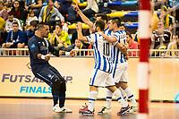 Pescara's players celebrating a goal during UEFA Futsal Cup 2015/2016 3º/4º place match. April 22,2016. (ALTERPHOTOS/Acero)