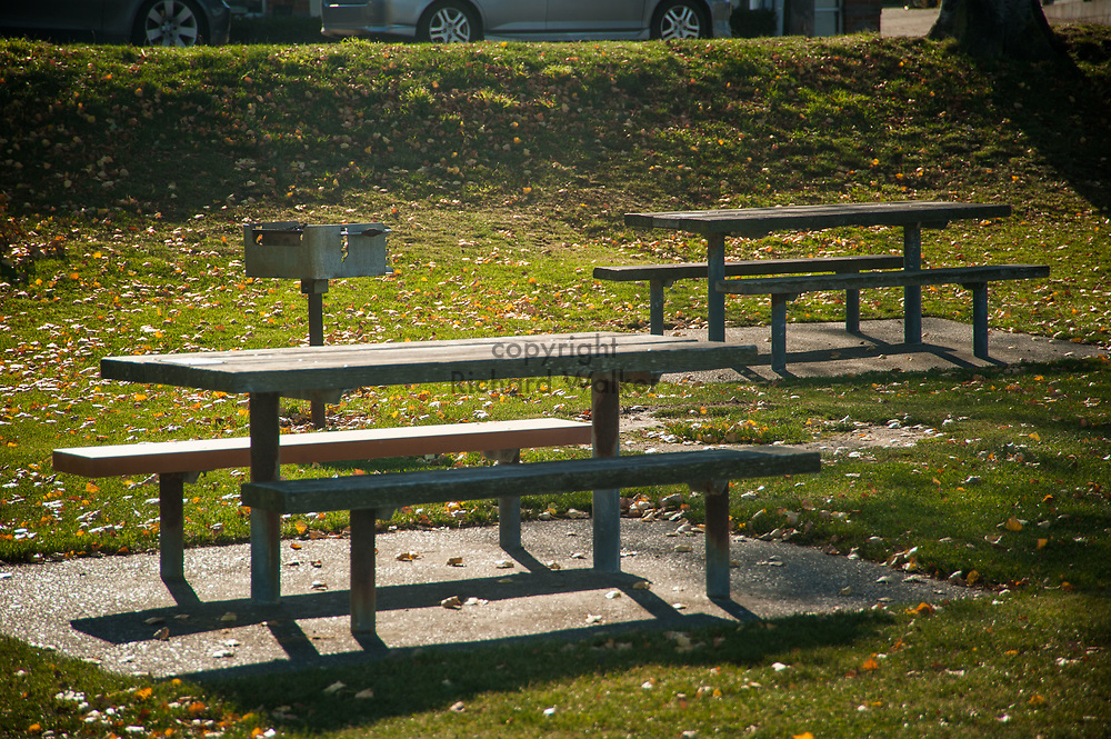 2017 NOVEMBER 06 - Picnic tables near Alki Beach, Seattle, WA, USA. By Richard Walker
