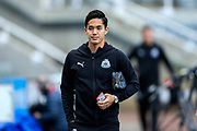Yoshinori Muto (#13) of Newcastle United arrives ahead of the Premier League match between Newcastle United and Liverpool at St. James's Park, Newcastle, England on 4 May 2019.
