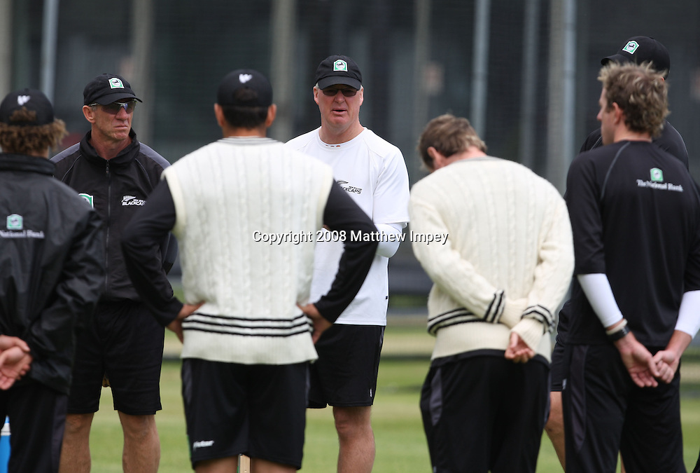 John Bracewell the New Zealand coach talks to his team before the nets session begins. New Zealand Cricket Nets, Lord's Cricket Ground, St.Johns Wood, London. 14 May 2008. Photo: Matthew Impey/PHOTOSPORT