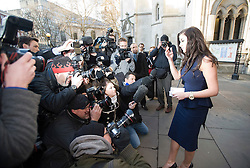 © Licensed to London News Pictures. 15/12/2011. London, UK.  Former Big Brother star Imogen Thomas reading a statement on the steps of the High Court today (15/12/2011) after listening to a statement being read in relation to to an injunction granted earlier this year to a married footballer. Photo credit: Ben Cawthra/LNP
