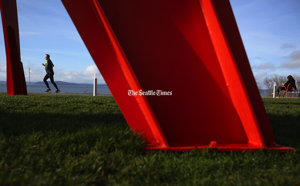 Runners and readers enjoy the Seattle Art Museum's Olympic Sculpture Park. (Ken Lambert / The Seattle Times)