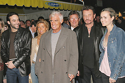 File photo : (L-R) Anthony Delon, Natty and Jean-Paul Belmondo, Johnny Hallyday and his wife Laeticia during a party held at L'Etoile in Paris, France, on March 15, 2005, to present the cars of the 'Paul Belmondo Racing' team which will participate in this year's 24 Hours of Le Mans sportscar race. France's biggest rock star Johnny Hallyday has died from lung cancer, his wife says. He was 74. The singer - real name Jean-Philippe Smet - sold about 100 million records and starred in a number of films. Photo by Benoit Pinguet/ABACA.