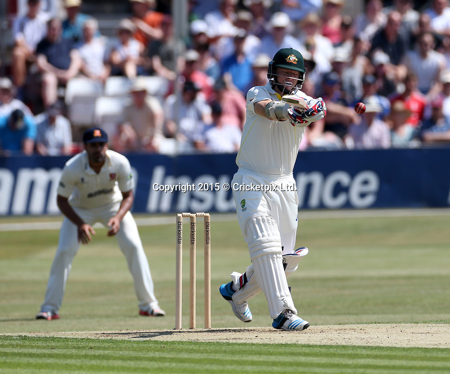 David Warner bats during the four day warm-up match between Essex and the Australian Xl at the County Ground, Chelmsford. Photo: Graham Morris/www.cricketpix.com (Tel: +44 (0)20 8969 4192; Email: graham@cricketpix.com) 01072015