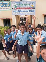 Children outside school, Mysore