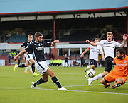 Raith Rovers keeper Kevin Cuthbert saves from Dundee's Peter MacDonald  - Dundee v Raith Rovers, Scottish League Cup at Dens Park<br /> <br />  - &copy; David Young - www.davidyoungphoto.co.uk - email: davidyoungphoto@gmail.com