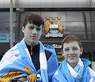 Atmosphere ahead of the Manchester City against West Ham United match in the Barclays Premier League at the Etihad Stadium, Manchester<br /> Picture by John Rainford/Focus Images Ltd +44 7506 538356<br /> 11/05/2014   11/05/2014