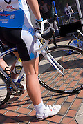 A member of the Horizon Fitness womens' road racing cycling team awaits the next competition in Woking.