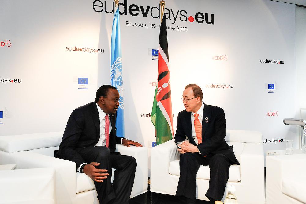 20160615 - Brussels , Belgium - 2016 June 15th - European Development Days - Bilateral Meeting Ban Ki-Moon<br /> Secretary General, United Nations<br /> Uhuru Kenyatta and <br /> President and Commander-in-chief of the Defence Forces, Republic of Kenya<br /> &copy; European Union