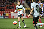 Tessa Wullaert (Belgium) plays the ball forward during the Euro 2017 qualifier between England Ladies and Belgium Ladies at the New York Stadium, Rotherham, England on 8 April 2016. Photo by Mark P Doherty.