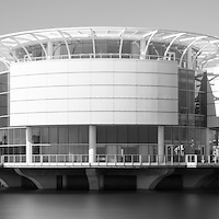 Milwaukee panorama picture in black and white. Milwaukee panorama picture ratio is 1:3 and includes Milwaukee Discovery World museum, US Bank building, University Club Tower, and Milwaukee Art Museum.