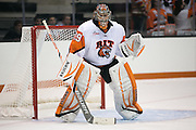 RIT's Ali Binnington in net during a game against Union College at the Gene Polisseni Center on October 3, 2014.