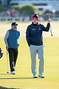 Stephen Gallacher acknowledges the crowd during the Alfred Dunhill Links Championships 2018 at St Andrews, West Sands, Scotland on 6 October 2018.