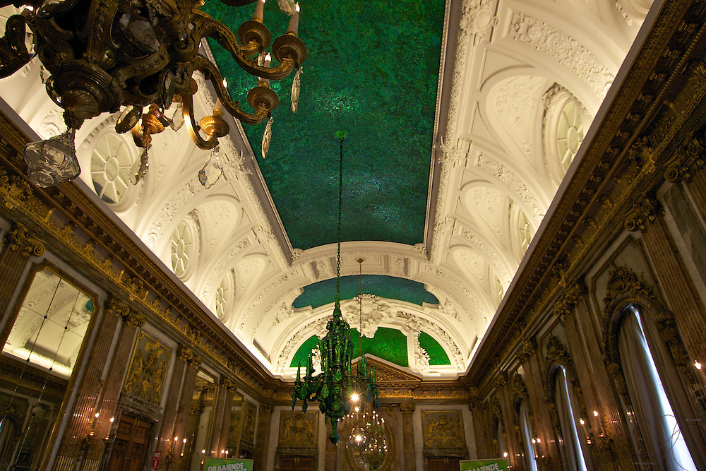 "Using 1.4 Million Thai Beetles, Belgian artist Jan Fabre created the ""Heaven of Delight"", installed here in the Royal palace. The beetle carcasses retain an intense green color that changes depending on your view and the light."