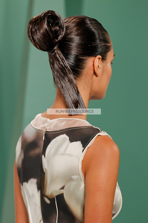Gizele Oliveira (IMG New York) walks the runway wearing Carolina Herrera Spring 2015 during Mecedes-Benz Fashion Week in New York on September 8th, 2014