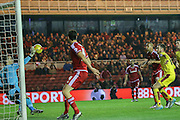 Burnley goalkeeper Thomas Heaton  saves from Middlesbrough midfielder Emilio Nsue  during the Sky Bet Championship match between Middlesbrough and Burnley at the Riverside Stadium, Middlesbrough, England on 15 December 2015. Photo by Simon Davies.