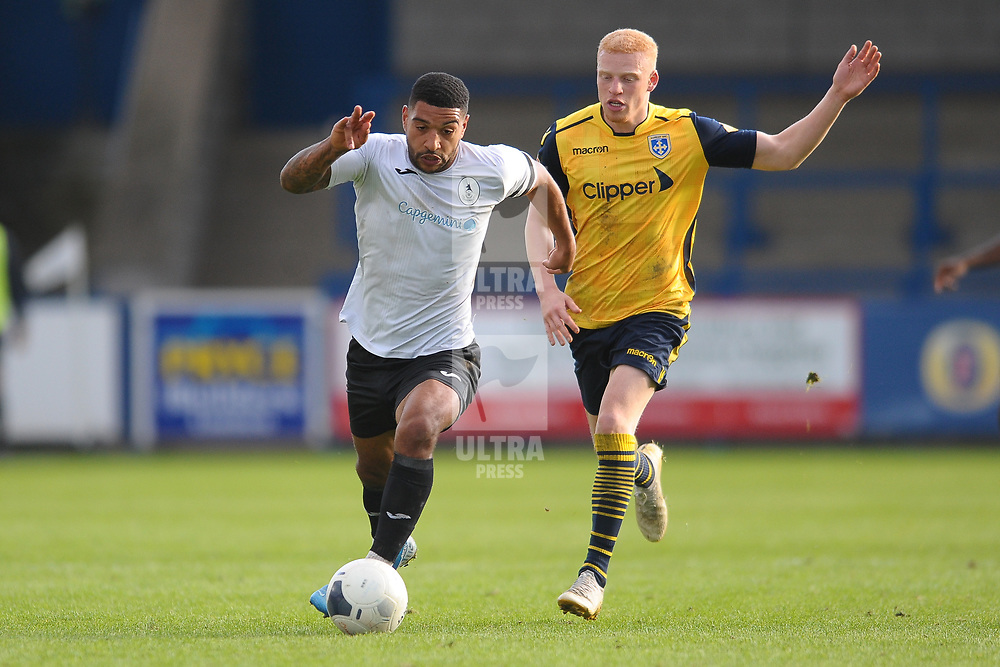 TELFORD COPYRIGHT MIKE SHERIDAN Ellis Deeney of Telford and Gabriel Johnson during the Vanarama National League Conference North fixture between AFC Telford United and Guiseley on Saturday, October 19, 2019.<br /> <br /> Picture credit: Mike Sheridan/Ultrapress<br /> <br /> MS201920-026