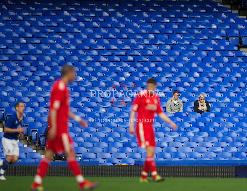 LIVERPOOL, ENGLAND - Tuesday, March 6, 2012: Two Everton supporters during the FA Premier Reserve League match against Liverpool at Goodison Park. (Pic by David Rawcliffe/Propaganda)